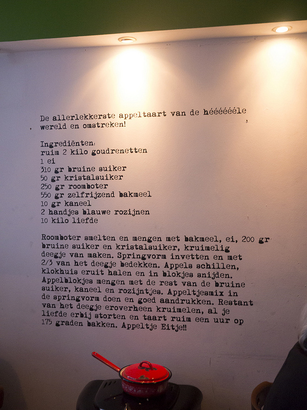 Their appeltaart is one of the best in Den Haag and if you want the recipe, it's on the wall!