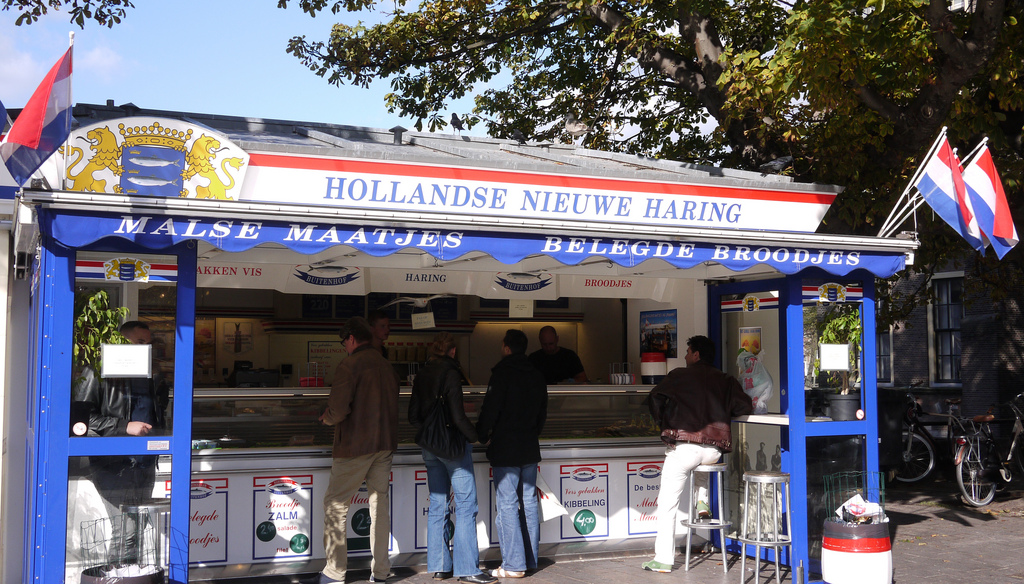 A typical Dutch fish stall.
