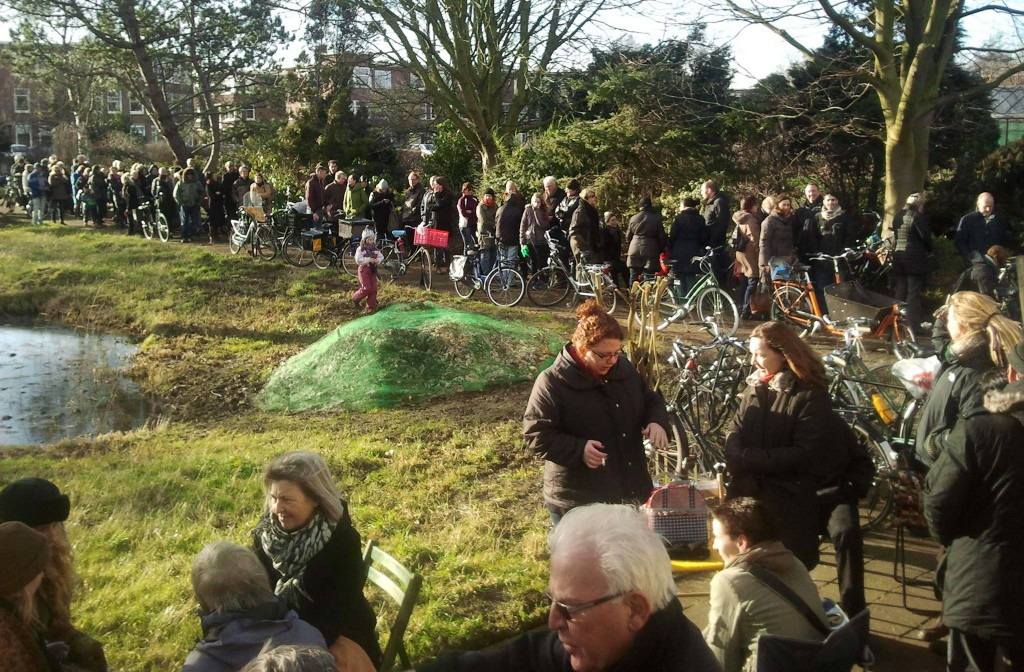Queuing up for my  community garden plot in The Hague.
