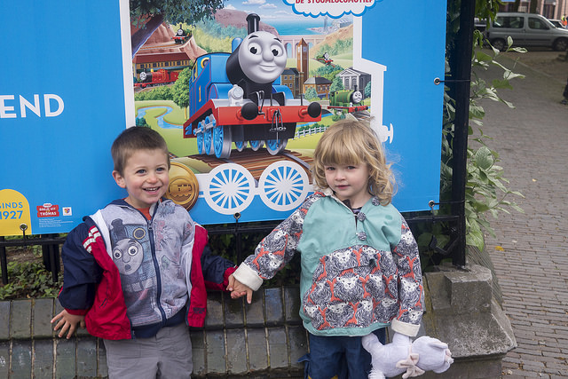 Two happy kids at the Thomas Weekend at the Spoorwegmuseum in Utrecht.