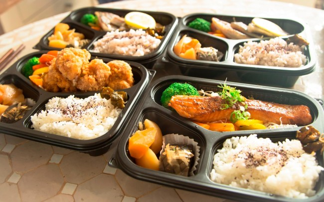 Authentic Japanese bento boxes from Yoshi Bento in The Hague. Photo by Atsushi Harada.
