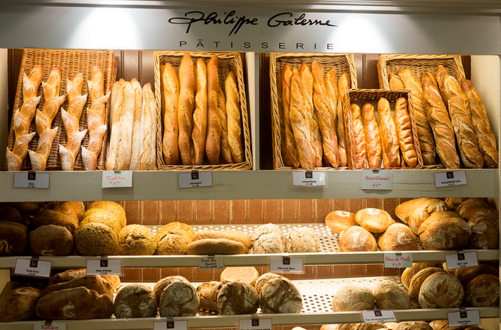 The mouthwatering selection of bread available at the French bakery.