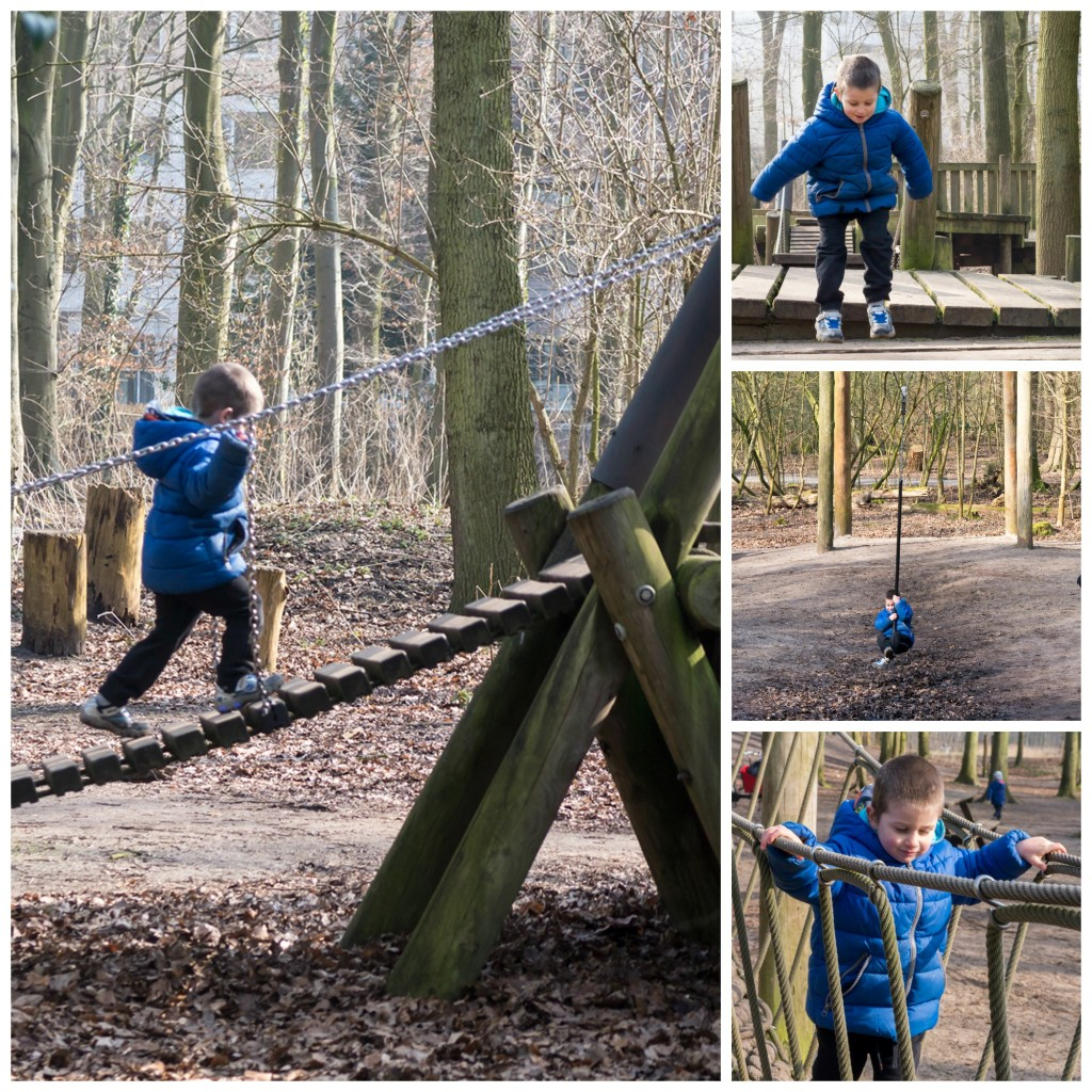 Having fun at the Robin Hood adventure playground, near Central Station in The Hague.